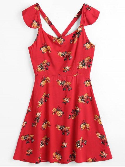 Robe de Plage avec Croisés dans le Dos Motif Floral - Rouge L Mobile