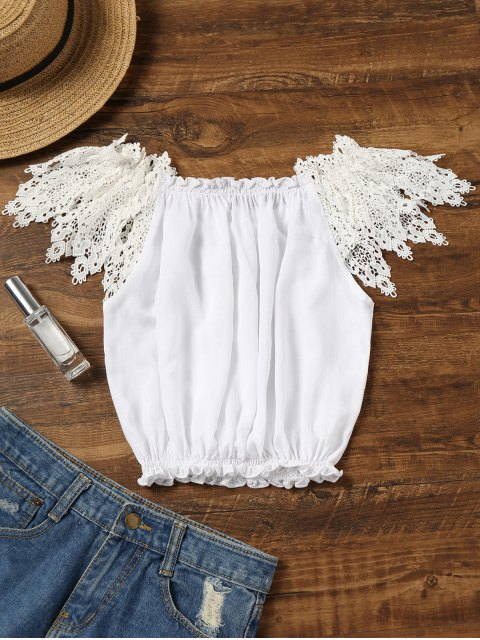 chic Crochet Sleeve Off Shoulder Beach Top - WHITE ONE SIZE Mobile