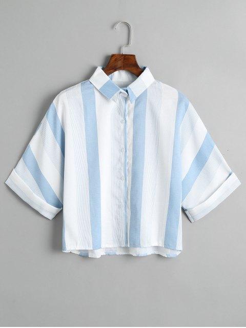 Camisa de rayas suelta con botones - Azul Claro Única Talla Mobile