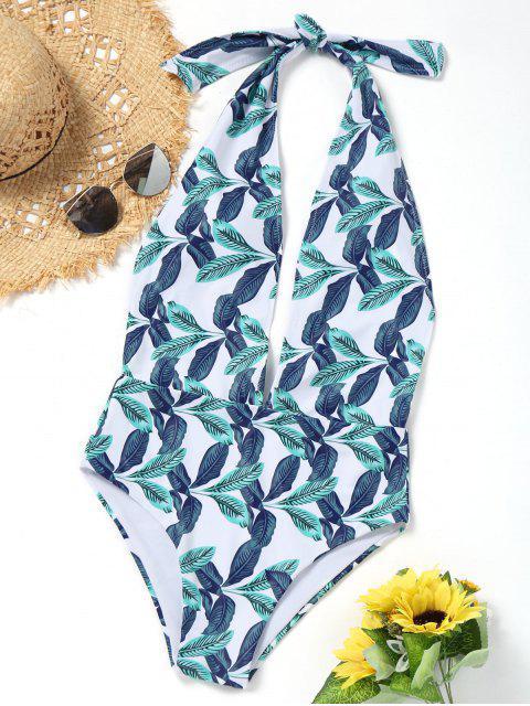 shops One Piece Leaf Print Low Cut Swimwear - WHITE S Mobile