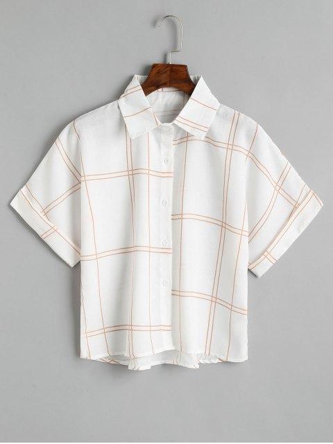 Lose Knopf Unten Kariertes Shirt - Kaffee braun  Eine Größe Mobile