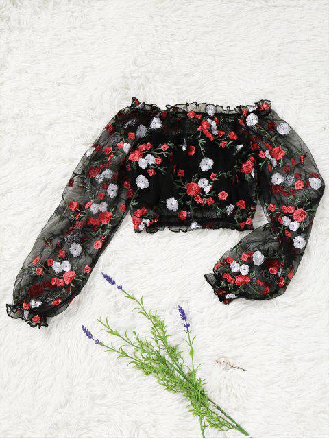 Blouse Transparente Brodée à épaules Dénudées avec Haut Tube - Noir L Mobile