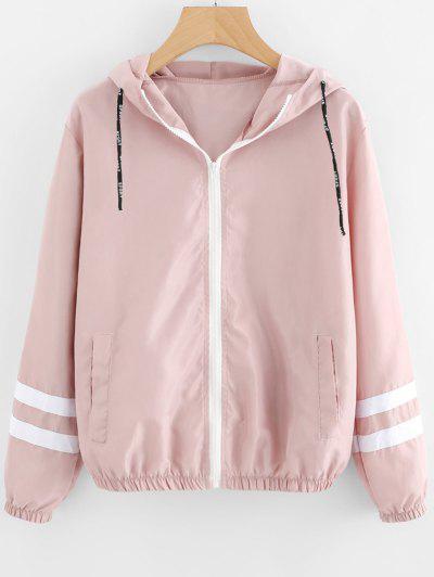 Zip Up Contrast Ribbons Trim Jacket - Pink M