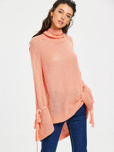 Oversized Turtleneck Chunky Knit Sweater - Orangepink