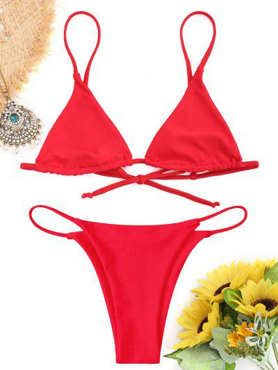 Bralette Thong String Bikini Set - Red S