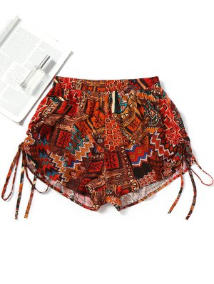 Printed Side Cinched Beach Shorts