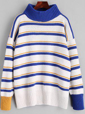 Pullover Turtleneck Stripes Sweater - Blue