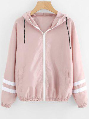 Zip Up Contrast Ribbons Trim Jacket