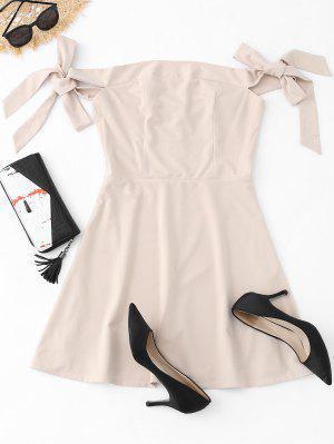 Off The Shoulder Bowknot Mini Dress - Apricot S