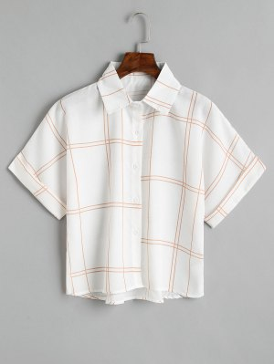 Loose Button Down Kariertes Hemd