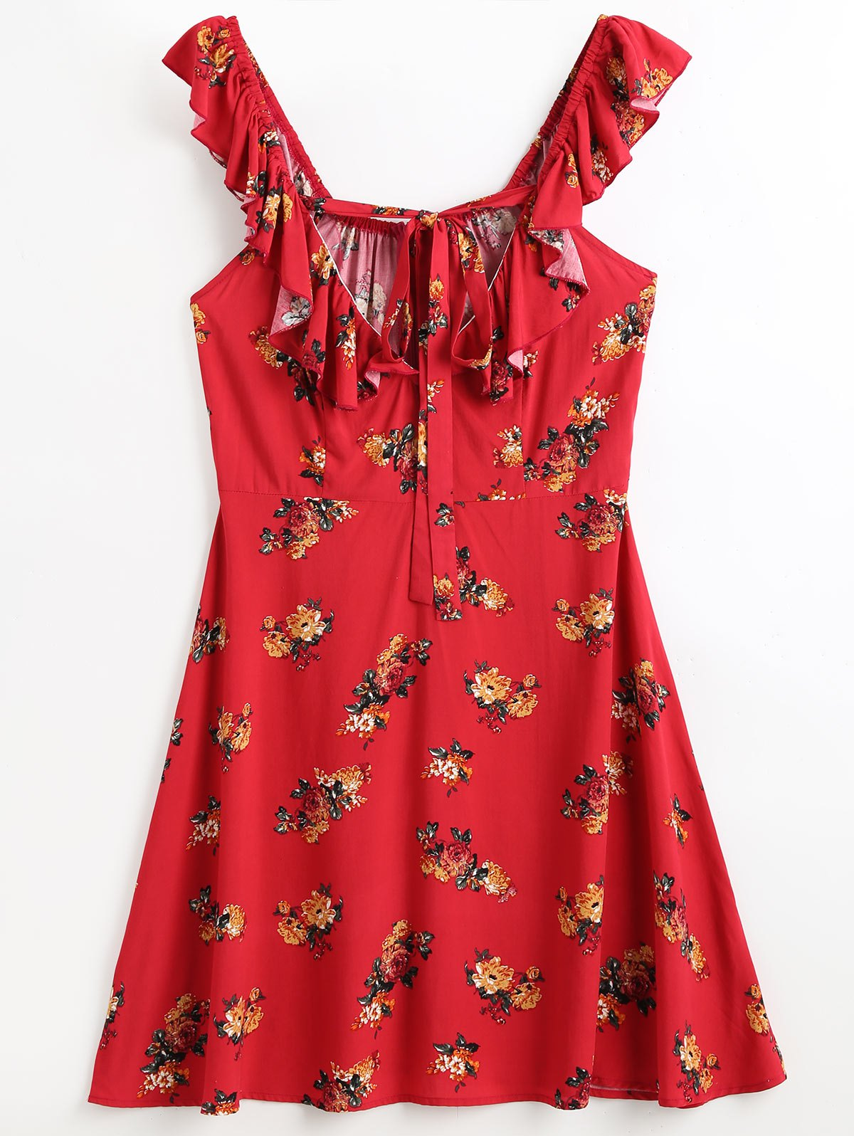 Ruffles Floral Beach Dress