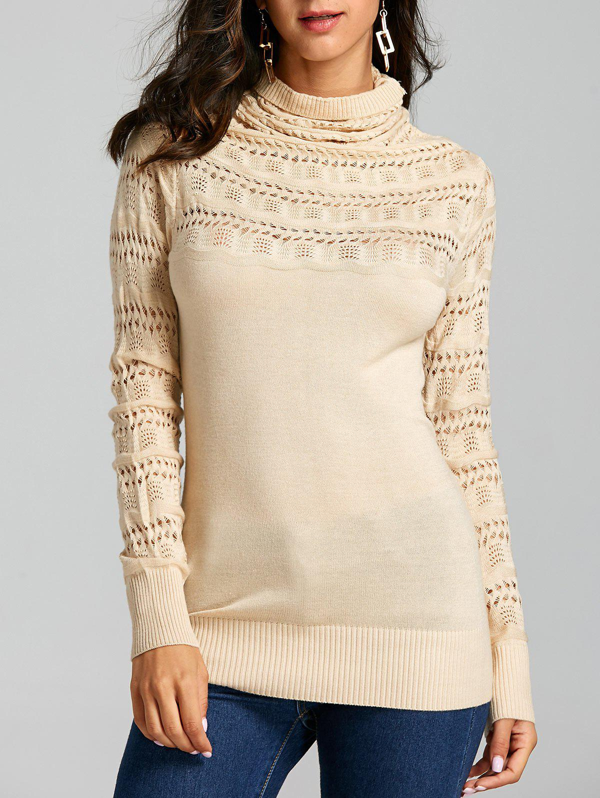 Cowl Neck Open Knitted Sweater 231509005