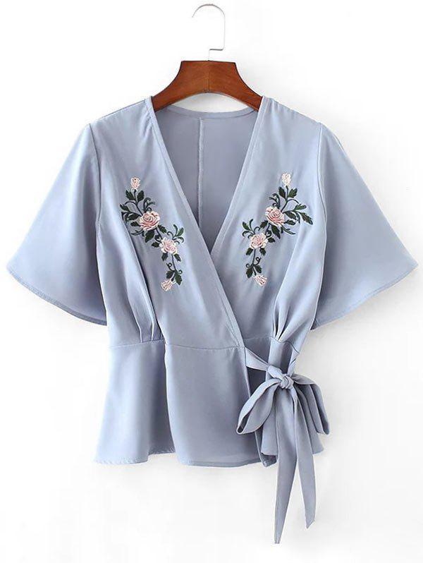 Floral geflickte tief fallende Bluse mit Rundhalsausschnitt
