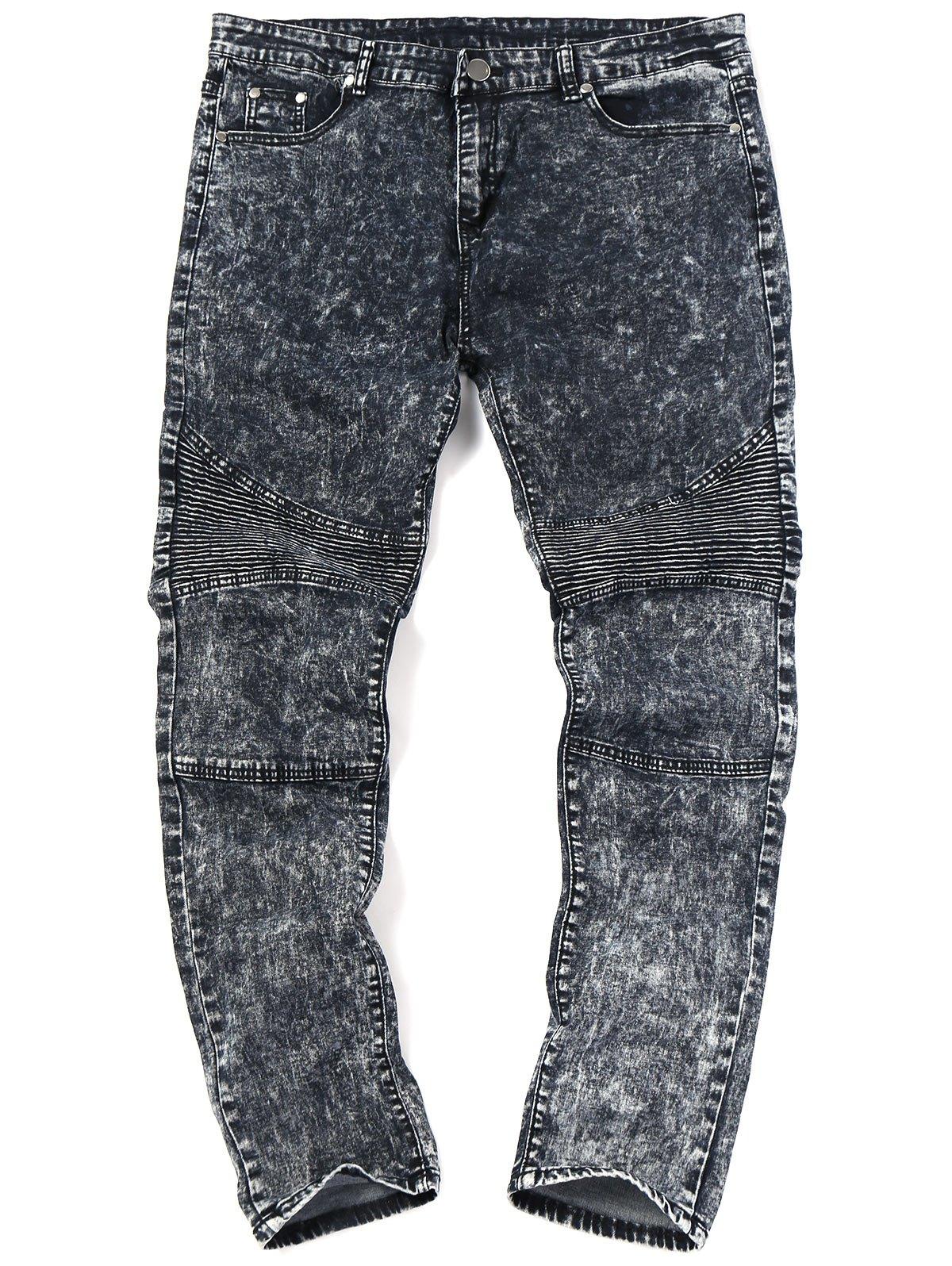 Snow Wash Biker Jeans 239679203