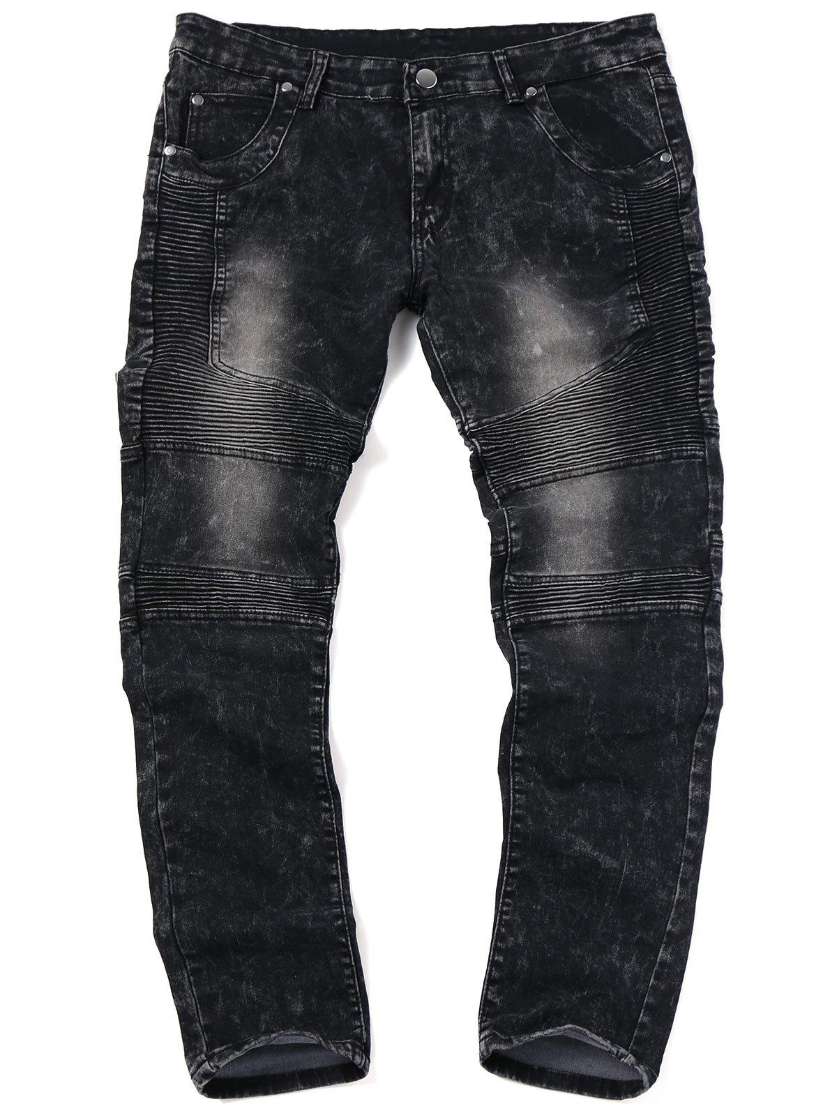 Skinny Snow Wash Biker Jeans 239722901