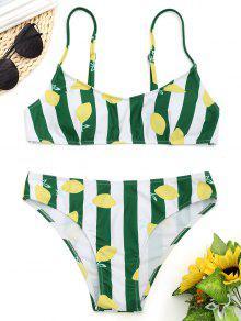 Conjunto De Bikini Con Rayas De Limón - Blanco Y Verde S