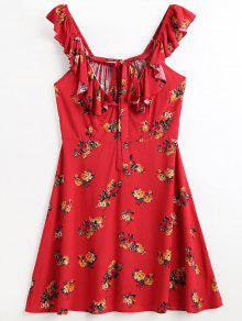 الكشكشة الأزهار شاطئ اللباس - أحمر S