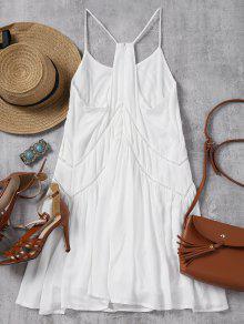 Blanco Slip Vestido Descubierta Espalda Mini M Con Transparente OYU7n