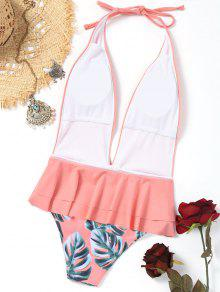 maillot de bain feuille de palmier col plongeant rose p le une pi ce m zaful. Black Bedroom Furniture Sets. Home Design Ideas