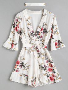 الكشكشة الأزهار المختنق رومبير - أبيض S