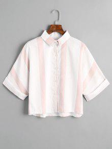 Camisa Listrada Com Botão Solto - Rosa