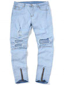 جينز الدرجات ممزق سحاب الحاشية - أزرق فاتح 34