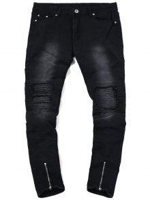 جينز الدرجات بسحاب الحاشية - أسود 32