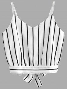 Camiseta Sin Mangas Cortadas Con Rayas Bowknot - Raya L