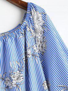 Con S Pierna Rayas Media Florales A Vestido Azul pzTqwtxR