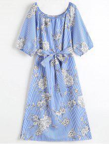 الزهور قبالة الكتف المشارب ميدي اللباس - أزرق L