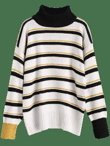 2019 Pullover Turtleneck Stripes Sweater In Black One Size Zaful