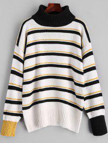 Pullover Rollkragenpullover Streifen Pullover - Schwarz