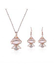 زاوية صغيرة فو الماس قلادة قلادة مع الأقراط - ذهبي