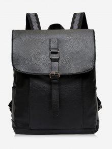 مشبك حزام بو الجلود حقيبة الظهر - أسود