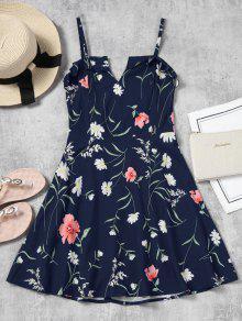 فستان كامي طباعة الأزهار مصغر - ازرق غامق M