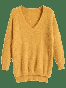 Plain V Neck High Low Sweater YELLOW: Sweaters ONE SIZE | ZAFUL