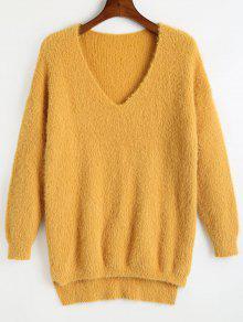 Plain V-Ausschnitt High Low Pullover - Gelb