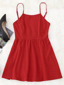 Vestido Mini Cami Con Espalda Abierta - Rojo S