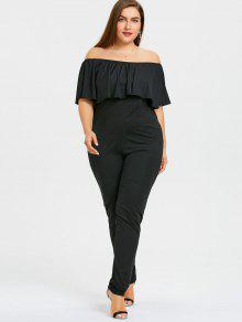 f6e71fc673f 32% OFF  2019 Plus Size Ruffles Off The Shoulder Maxi Jumpsuit In ...