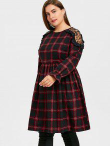 31% OFF] 2019 Plus Size Plaid Lace Panel Smocked Dress In PLAID | ZAFUL