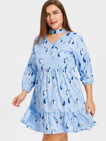 Frilled Feather Print Plus Size Choker Dress
