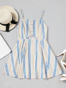 Mini Vestido A Rayas Medio Recortado - Raya L