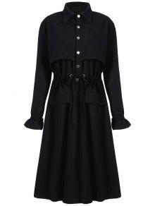 زائد حجم معطف طويل خندق - أسود 3xl