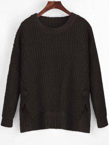 Buy Buttoned Side Slit High Low Sweater - DEEP BROWN ONE SIZE