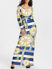 الطباعة القبلية فستان ماكسي بوديكون - L