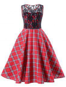 Vestido De Encaje Encaje Cuadros 50s Oscilación - Rojo 2xl