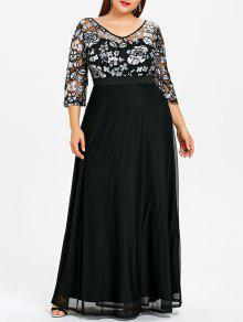 زائد حجم مطرزة الزهور ماكسي فستان حفلة موسيقية - أسود 5xl