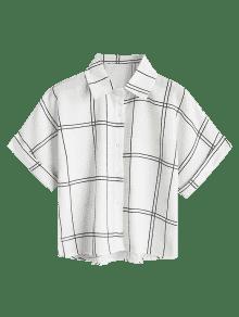 Camisa A Cuadros Negro Con Sueltos Botones 88174RWwq
