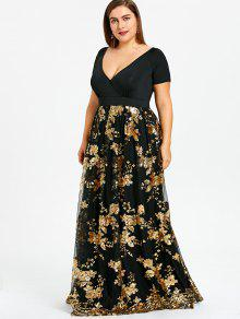 1f696bfac35 33% OFF  2019 Plus Size Floral Sparkly Maxi Prom Dress In GOLD 4XL ...