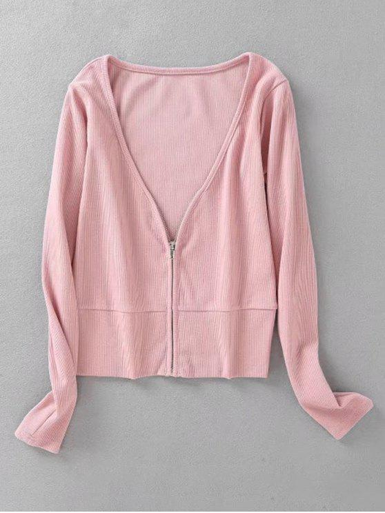 shop Knitted Zip Up Ribbed Top - PINK M
